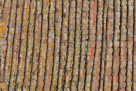 rooftiles: Ageing rooftiles in the Tuscan city of Siena in Italy Stock Photo