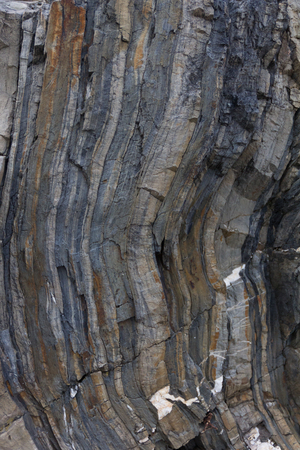metamorphic: Folds of metamorphic rock found in CInque Terre Stock Photo