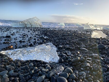 Diamond beach with shards of ice in Iceland