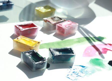 photo of water color art process in creative Studio 免版税图像