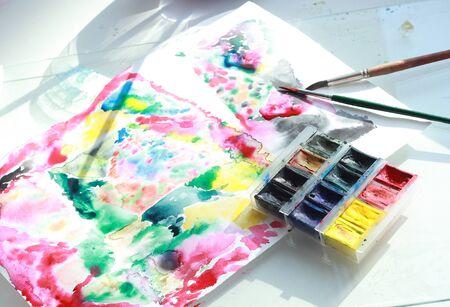 photo of water color art process in creative Studio Stock fotó