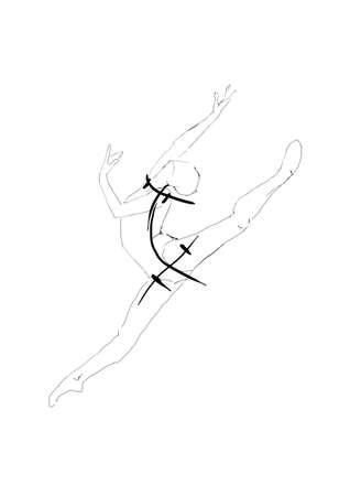hand drawing sketching art of dancing woman