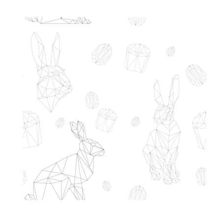 simple polygone vector art of easter rabbit pattern . Vector illustration