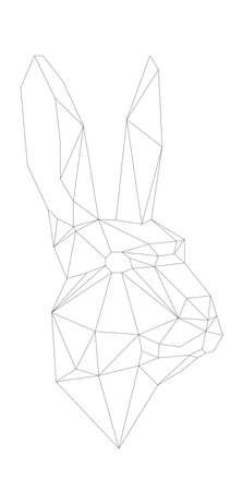 simple polygone vector art of easter rabbit . Vector illustration Ilustração