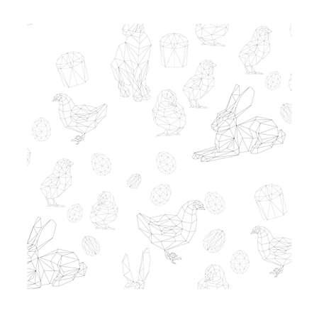 simple polygone vector art of easter pattern. Vector illustration Ilustração