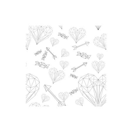 vector line art pattern of sant valentines day heart Çizim