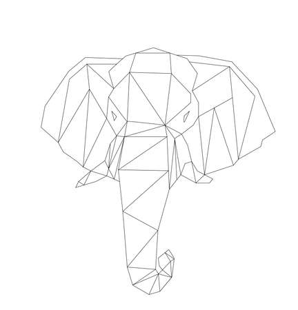 simple vector line art of elephant head