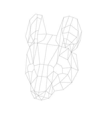 simple line vector polygone art of mouse head Illustration