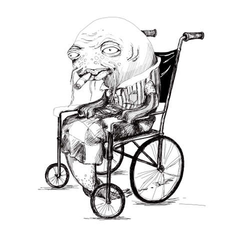 hand drawing of old fish in wheelchair. black graphic art on white background 免版税图像