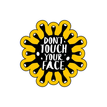 Coronavirus vector element isolated. Do not touch your face. Text