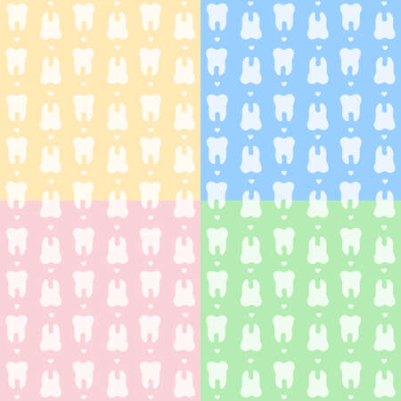 Teeth seamless pattern set in yellow, blue, pink and green colors. Repeated tooth with small hearts.