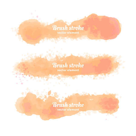 Vector Hand drawn watercolor elements set. Watercolor orange brush stroke