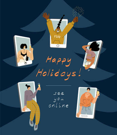 Vector illustration with 5 isolated women figures on dark background celebrating Christmas and New Year party remotely together. Multicultural group of happy girls on smartphone display meeting online Ilustração