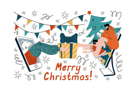 Vector illustration of happy family meeting with granny online to greet each other with Holidays and wish a Merry Christmas using phone and computer. Cheerful people celebrate New Year, exchange gifts