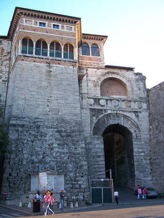 etruscan: View of the Etruscan Arch in Perugia, Italy