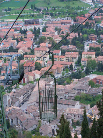 Aerial view of Gubbio (Umbria, Italy) seen from the cableway that goes to the church of Sant'Ubaldo Stock Photo - 604287