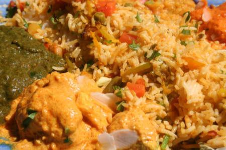 Una mezcla de pollo con salsa de masala, lentejas y arroz, servida con verduras. Plato t�pico indio.  Foto de archivo - 902364