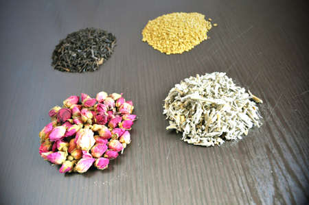for tea, a set of different teas - pink, black, herbal, yellow