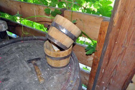 old winemaking - wooden barrels for wine