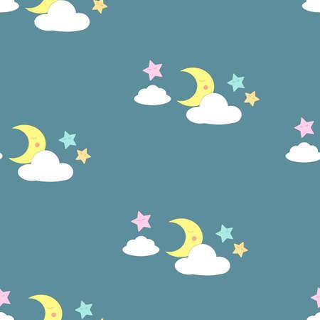 Baby dream seamless vector pattern, baby fabric pattern, kids background vector pattern, moon and stars, kawaii, scandinavian style, cartoon Vektorové ilustrace