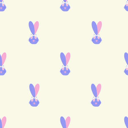 Blue and pink rabbit hearts seamless vector pattern, love pattern, easter rabbit pattern