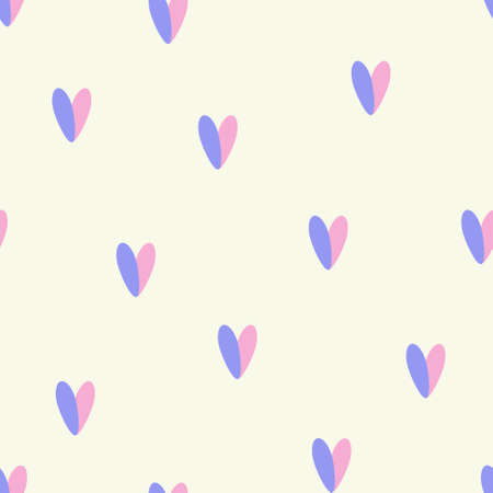 Blue and pink hearts romantic seamless vector pattern, love pattern, St. Valentine Day, invitation