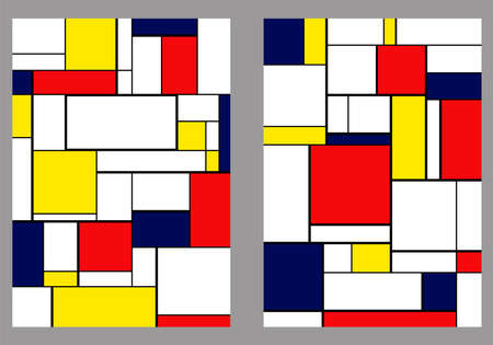 Set of 2 covers. Piet Mondrian style. A4 vertical orientation pages. Vector. 2 couvertures. For notebooks, reports, copybooks, brochures.