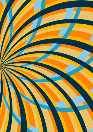 60s 70s style. Abstract pattern background. Multidirectional swirl radial lines of blue. yellow and orange color. For cover, banner, card.