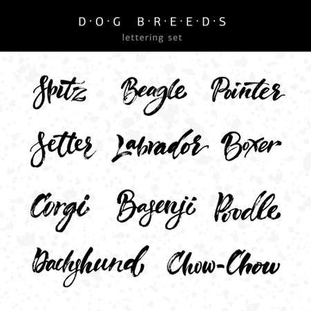 breeds: Lettering set with dog breeds