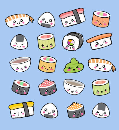 Happy kawaii sushi pattern. Pattern made by sushi, wasabi and miso soup in a kawaii style. All cute, childish and minimalist. Stock Photo
