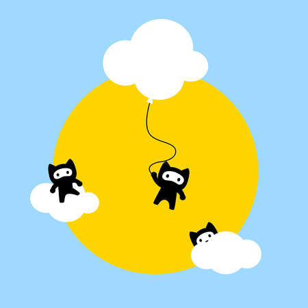 Funny cute kawaii illustration of three ninja cats hiding in clouds over a bright yellow Sun and a blue clear sky. Cats are always playing our minds with new tricks, but they are lovely and amazing anyway.