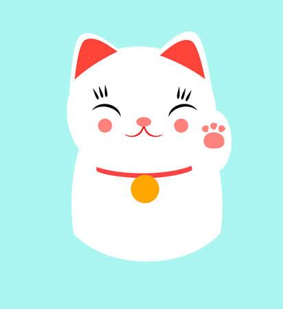 幸運な幸せな日本猫です。有名な招き猫に基づく設計 (意味、招猫、ã ¾ã ã ã ã、æ‹›ã çŒ «) カワイイ スタイルで行われました。脂肪酸、かわ