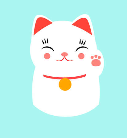 Lucky happy Japanese cat. Design based on the famous maneki-neko (meaning, beckoning cat, まねきねこ, 招き猫) made in a kawaii style. Fatty, cute and happy.