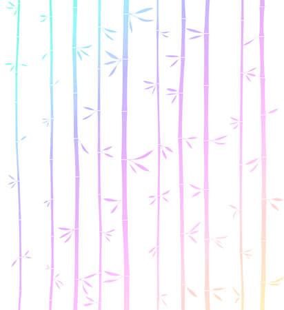 Tropical woody rainbow bamboos. Minimalistic tropical woody rainbow bamboos. White background. Colorful.