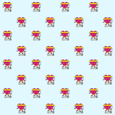 Pattern illustration of a kawaii heart running happily for your love  in a treadmill in the gym. Happy Valentine's Day!