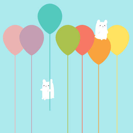Happy illustration of floating balloons in all the colors of the rainbow with two fluffy and cute bunnies on board. You gotta love them!! Stock Photo