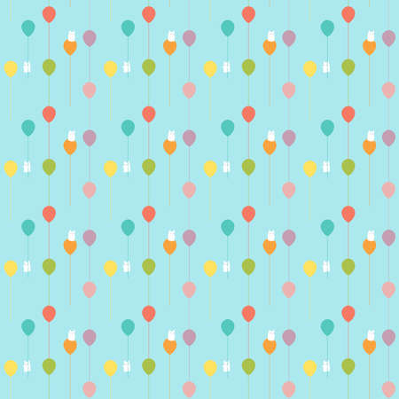 Pattern of a happy illustration of floating balloons in all the colors of the rainbow with two fluffy and cute bunnies on board. You gotta love them!!
