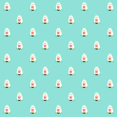 Pattern of an illustration of a kawaii fluffy fat bunny eating noodles. Or maybe spaguetti. The bunny is enjoying his meal. Stock Photo