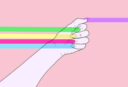 Feminist power. Feminist illustration of a woman fist with nails in the colors of the rainbow.  We are women. We are open minded people. We want a better world for everyone of us. We have to change the rules we've been taught.  Let's use all our power to achieve our goals. We are together. Stock Photo