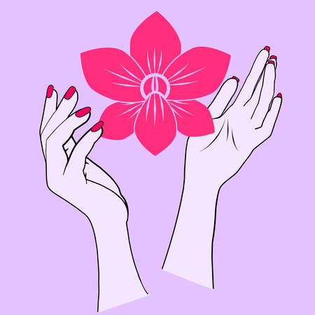 Illustration of a pink orchid held in the air by two female hands.   Orchid as metaphor of the women. I wanted to represent the power women have to change the world and help each other in order to become stronger. 版權商用圖片