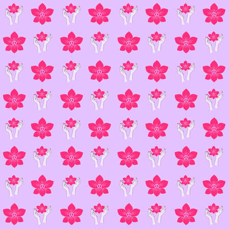 Pattern of an illustration of a pink orchid held in the air by two female hands.   Orchid as metaphor of the women. I wanted to represent the power women have to change the world and help each other in order to become stronger.
