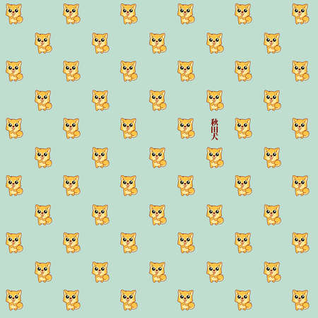Pattern made of a illustration of Hachikō, the legendary dog remembered for his remarkable loyalty to his owner, for whom he continued to wait for over nine years following his death.