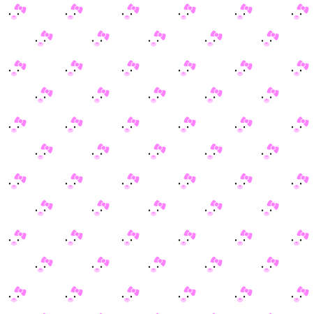 Pattern of an illustration of a kawaii white polar bear cub just wearing a cute pink bow over a white background.