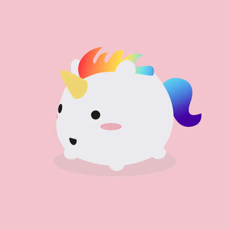 Illustration of a kawaii cute fat unicorn with rainbow colored horsehair running happily over a pink background. Stock Photo