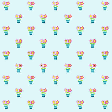 Pattern based on a kawaii illustration of two pink daisies holding leaves and feeling their mutual and amazing love over a blue plant pot. The background is light blue.