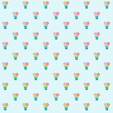 Pattern based on a illustration of two pink daisies holding leaves and feeling their mutual and amazing love over a blue plant pot. The background is light blue. Stock Photo