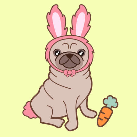 illustration of a cute little chubby pug dog in a tiny pink bunny costume accompanied by a sweet yummy carrot. The background is clear yellow. How adorable is this