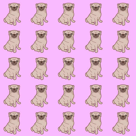 Pattern of a illustration of a cute little chubby pug dog. Stock Photo