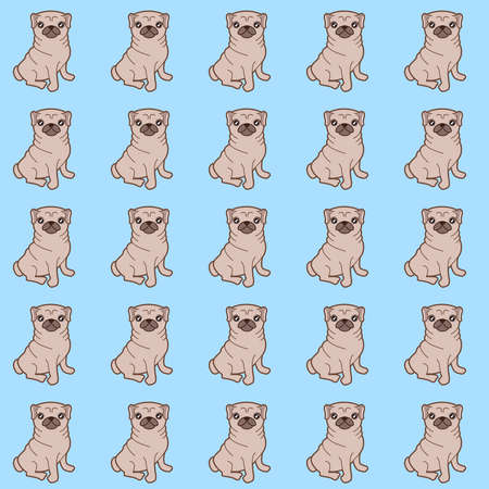 Pattern of a kawaii illustration of a cute little chubby pug dog.