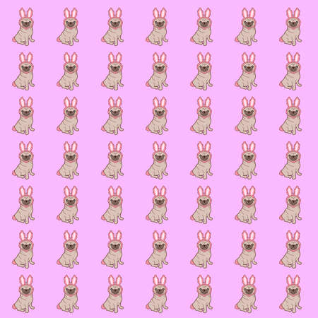 Pattern of a illustration of a cute little chubby pug dog in a tiny bunny costume. How adorable is this